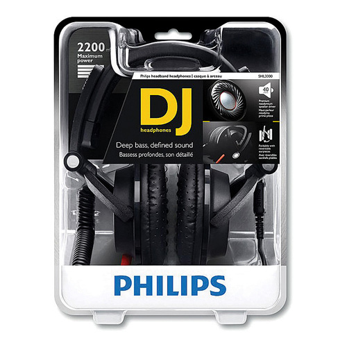 Philips SHL3300/28 DJ Monitor Style Headband Headphones, Black, 1 Ea
