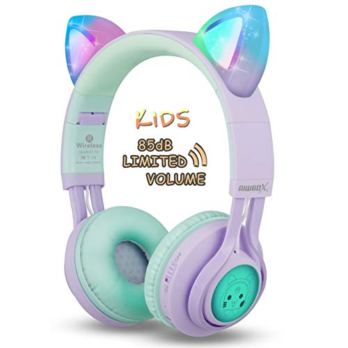 Kids Headphones Riwbox Ct 7s Cat Ear Bluetooth Headphones 85db Volume Limiting Led Light Up Kids Wireless Headphones Over Ea Walmart Com Walmart Com