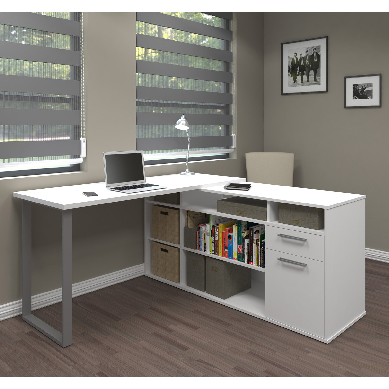 Solay L-Shaped Desk in White