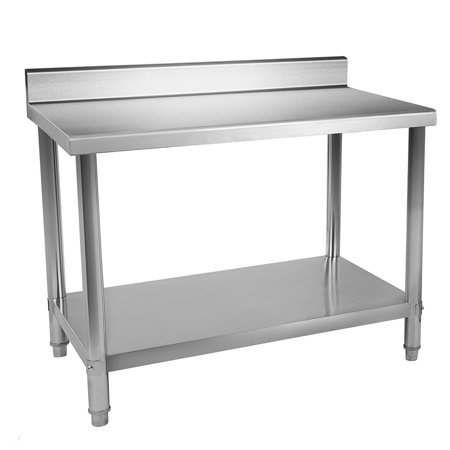 3084 Work Table Backsplash - Jeobest Kitchen Work Table with Backsplash Kitchen Restaurant Table - Kitchen Stainless Steel Work Table Commercial Home Kitchen Prep Restaurant Adjustable Bullet Feet Table (36 x 24 x 35 inches)