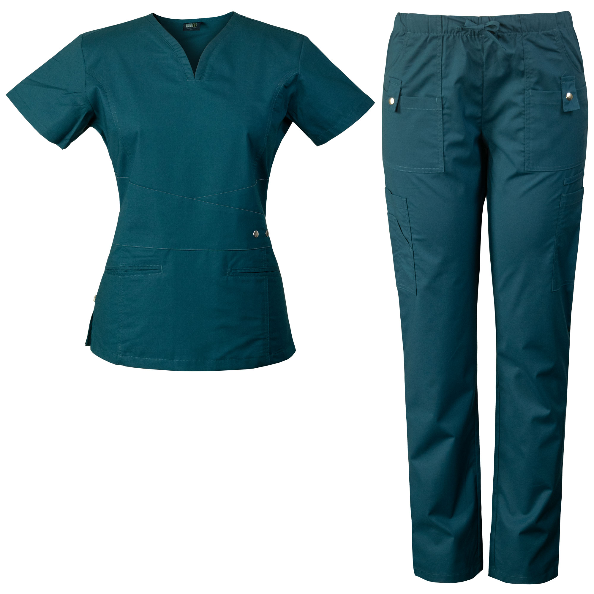 Women's Scrubs Set with Curved V-neck and Flattering Delicate Waistband Detail 7904