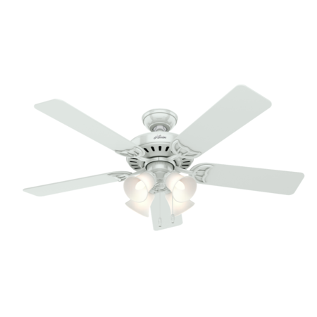 Hunter Fan Company 53062 Studio Series 52   Ceiling Fan With 5 White Bleached Oak Blades And Light Kit  White