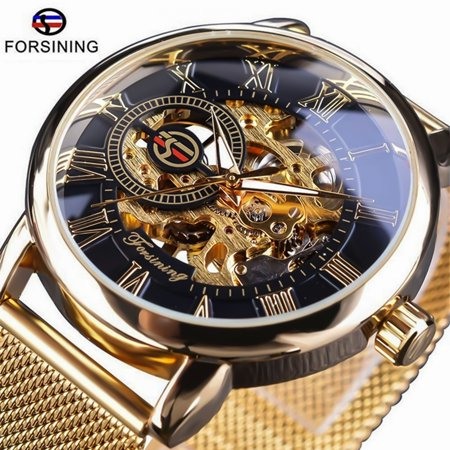 Forsining Watch, Mens Watch, Luxury Classic Skeleton Mechanical Stainless Steel Watch, Dress Automatic Wrist Hand-Wind Watch Hand Wind Watch Series