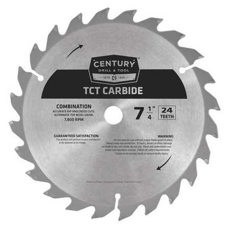 "7-1/4"",24-Teeth Carbide Combo Saw Blade,TCT CENTURY DRILL AND TOOL 09207"