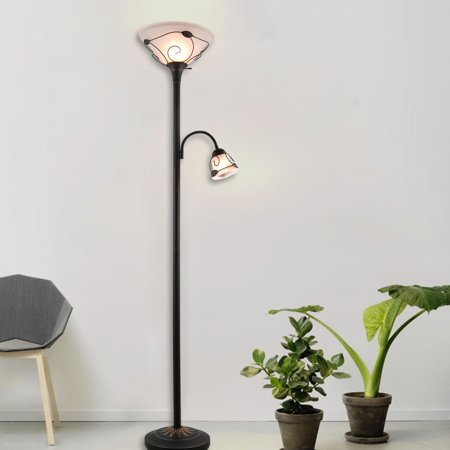 Etl Listed Torchiere Floor Lamp W Side Reading Lamp Dark