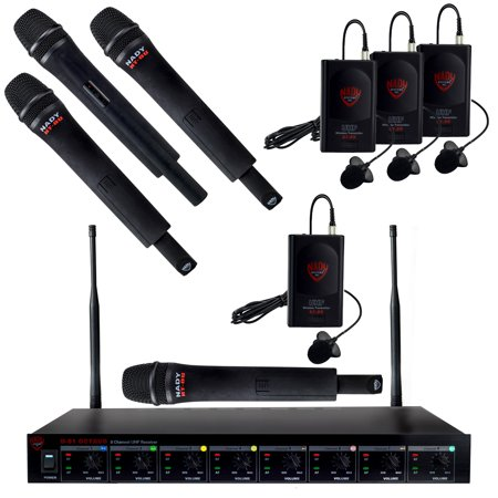 """Nady U-81 Octavo HT-LT – Four wireless handheld microphones and four bodypacks with lavalier microphones – Easy set up – UHF – 8 XLR & 1 Mixed ¼"""" outputs – - Blow Up Microphone"""