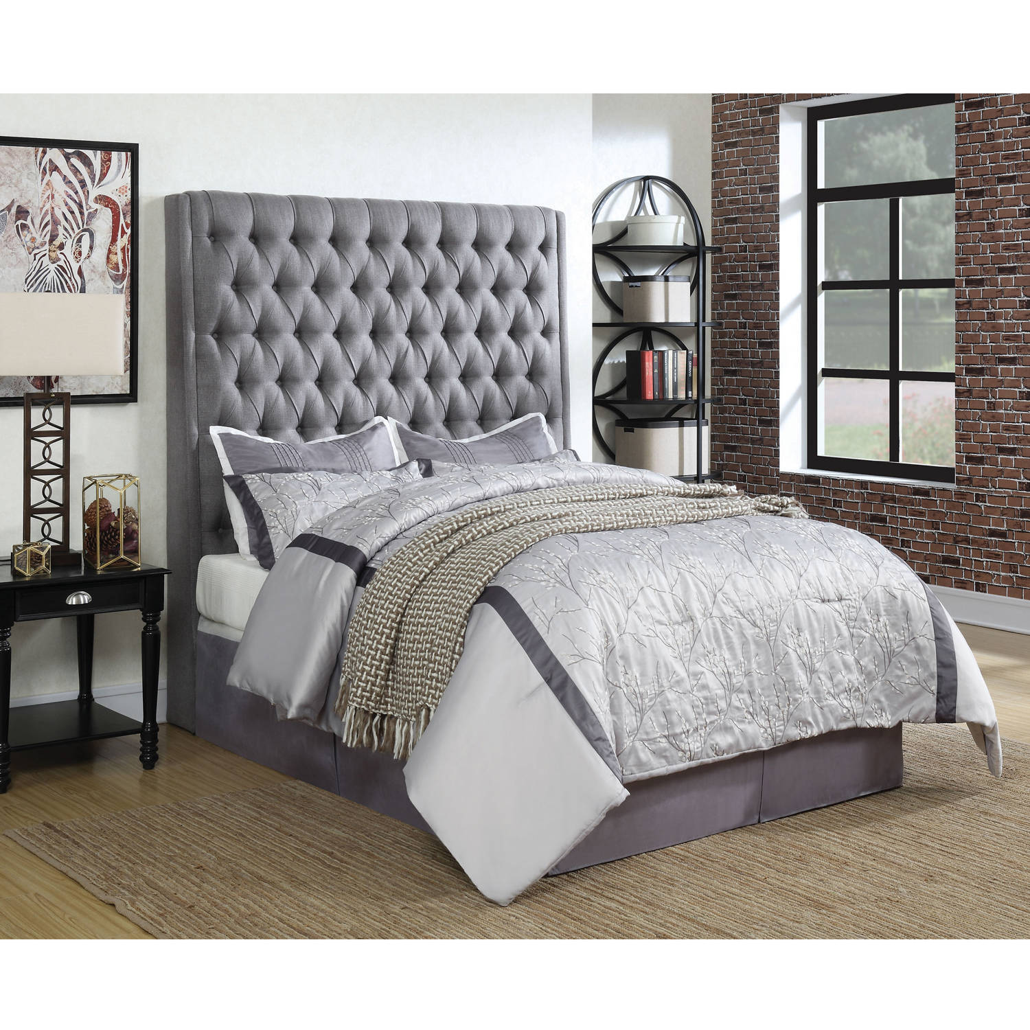 Coaster Company Camille Upholstered Queen Headboard, Grey Fabric