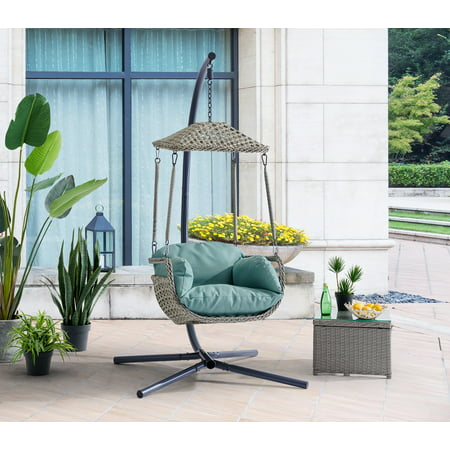 Premium Patio Hanging Lounge Chair Thick Cushion with Armrest Chair UV Resistant, Aqua