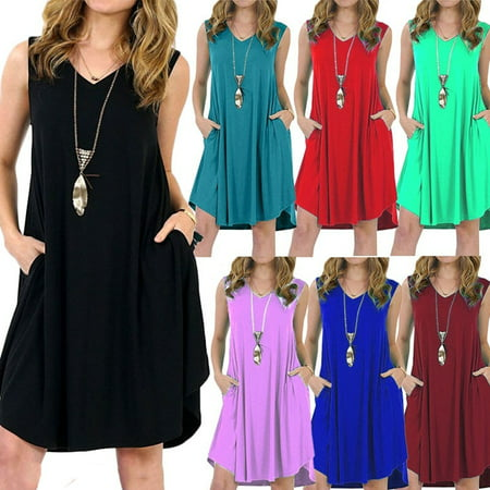 Women Summer Casual Solid Color Loose Sleeveless Beach Tank Top A-line Pocket - Green Velvet Baby Dress