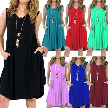 Women Summer Casual Solid Color Loose Sleeveless Beach Tank Top A-line Pocket Dress (Medieval Dress Green)