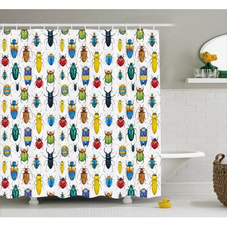 Watercolor Shower Curtain, Colorful Insects with Brush Strokes Effect Various Kinds of Bugs Illustration, Fabric Bathroom Set with Hooks, 69W X 70L Inches, Multicolor, by (Strobe Effect)