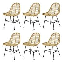 Dining Chairs 6 pcs Natural Rattan