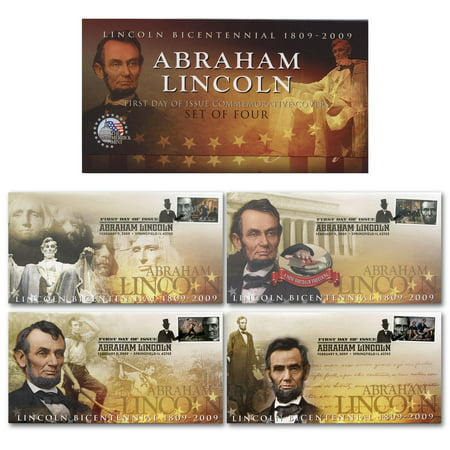 PRESIDENT LINCOLN Bicentennial 2009 First Day Issue Stamps Postmark Envelope S/4 Stamp Collecting First Day Covers