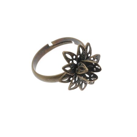 Brass Adjustable Ring (Antiqued Brass Flower Adjustable Ring With Setting For Stone 16mm)