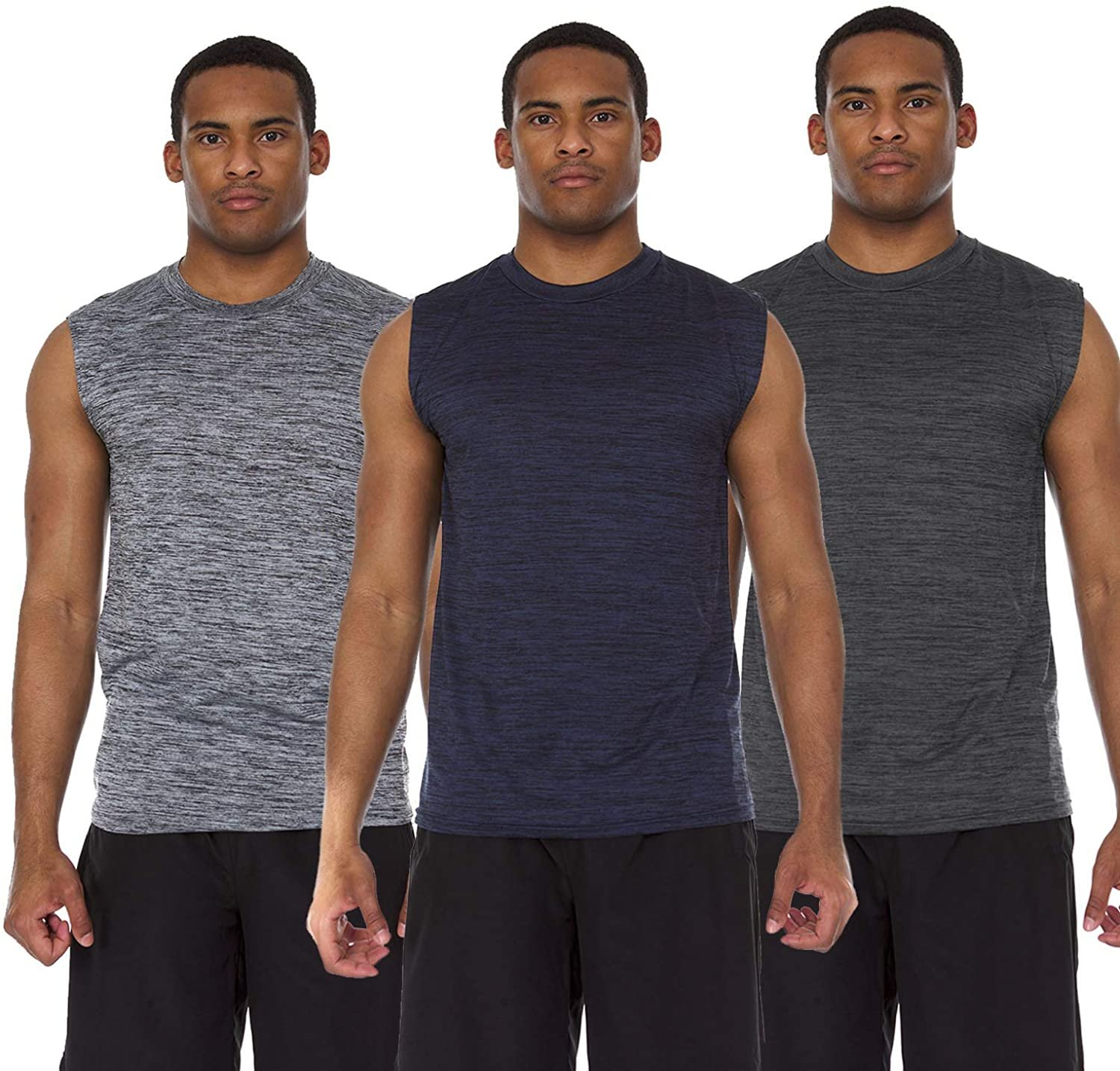 Men/'s Active Dry Fit Moisture Wicking Muscle Sleeveless Athletic... 6 Pack