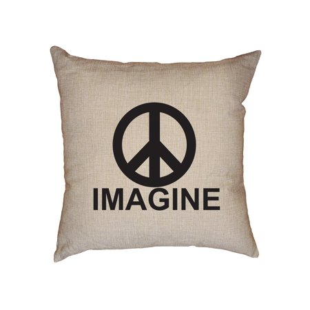 Imagine Peace Sign Graphic Decorative Linen Throw Cushion Pillow Case with Insert