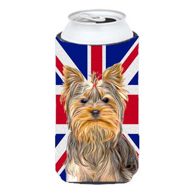 Carolines Treasures KJ1163TBC Yorkie & Yorkshire Terrier with English Union Jack British Flag Tall Boy bottle sleeve Hugger - image 1 de 1
