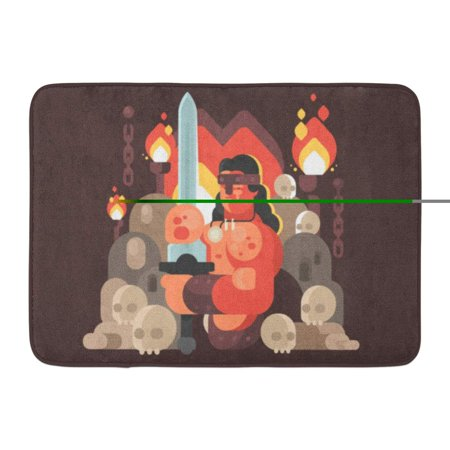 - GODPOK Ancient Adult Courageous Warrior Barbarian Sword Aggressive Armed Rug Doormat Bath Mat 23.6x15.7 inch