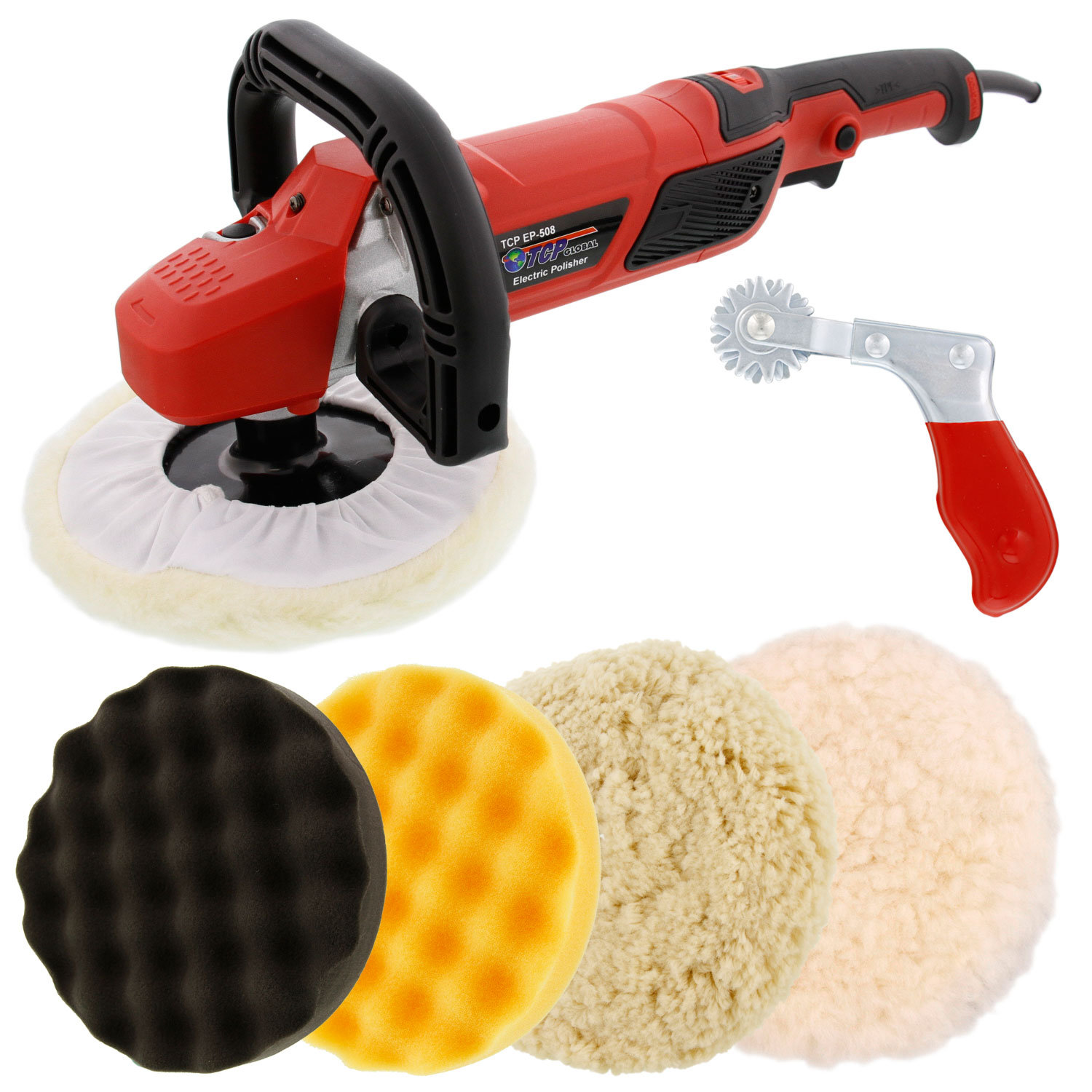 "7"" Professional High Performance Variable Speed Polisher with a 4 Pad Buffing and Polishing Kit and a Pad Cleaning Spur"