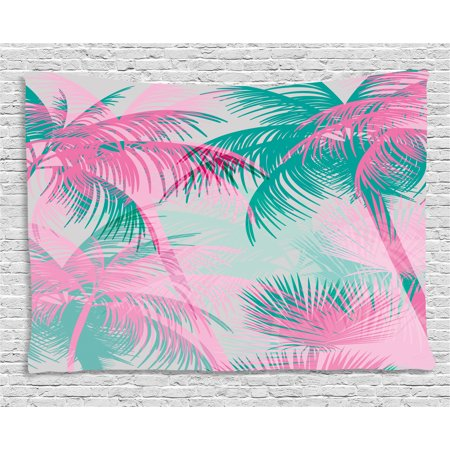 Palm Leaf Tapestry, Beach Party Theme Vibrant Composition with Pink and Green Trees Vintage, Wall Hanging for Bedroom Living Room Dorm Decor, 80W X 60L Inches, Pink Teal White, by Ambesonne - Beach Themed Classroom