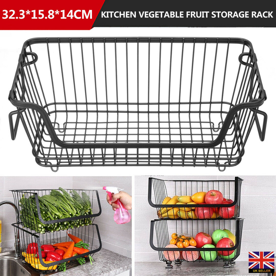 Stackable Hanging Kitchen Vegetable Fruit Storage Rack Wire Basket Organizer UK