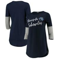 Minnesota Timberwolves Women's Striking in Stripes 3/4 Sleeve Tunic T-Shirt - Navy