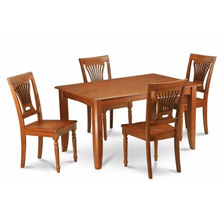 East West Furniture PFPL5-SBR-W 5-Piece Parfait Square Table with 18 in. Butterfly Leaf & 4 Faux Leather upholstered Seat Chairs in Saddle Brown Finish