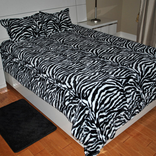 Fashion St. Faux Fur Zebra Print 3-Piece Bedding Blanket Set