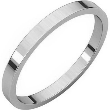 Flat Plain Solid Wedding Band 2MM .925 Sterling Silver Ring Sizes 2-12