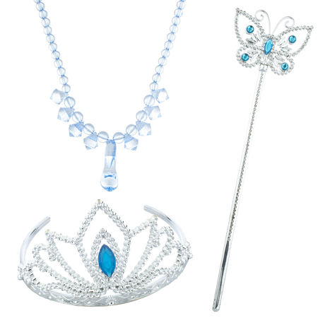 Lux Accessories Silver Tone Blue Halloween Ice Frozen Princess Costume Set 3PC (Princess Accessories)