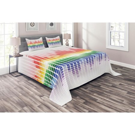 Music Coverlet Set, Rainbow Digital Style Equalizer Amplifier Recording Equipment Night Club Disco Theme, Decorative Quilted Bedspread Set with Pillow Shams Included, Multicolor, by Ambesonne