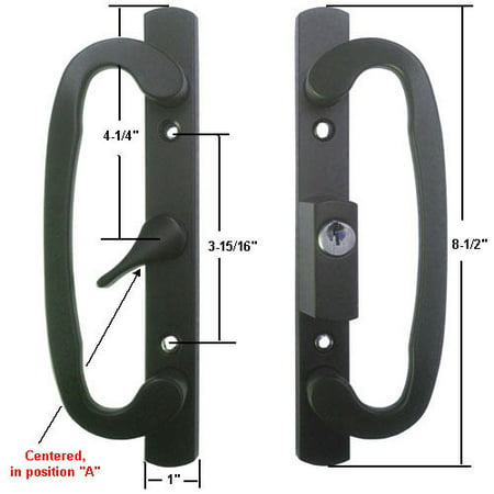 Sliding Glass Patio Door Handle Set, Mortise Type, A-Position, Centered Latch Lever, Keyed, Black, 3-15/16