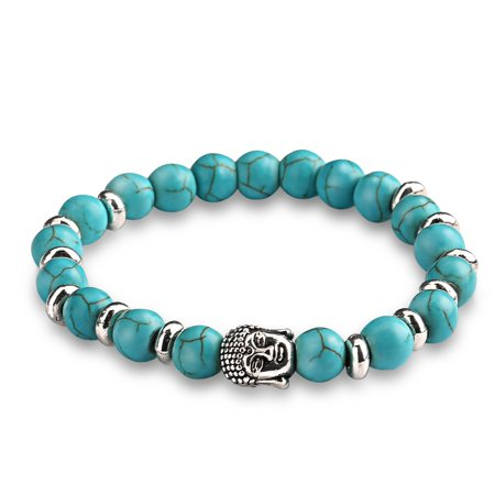 Energy Beads Bracelet Uhibros Lava Rock Turquoise Natural Agate Beaded Stretch With Buddha Head