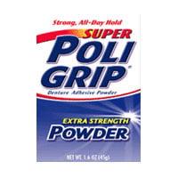 Extra Strength Adhesive - Super Poli-Grip Extra Strength Denture Adhesive Powder, 1.6 Oz, 2 Pack