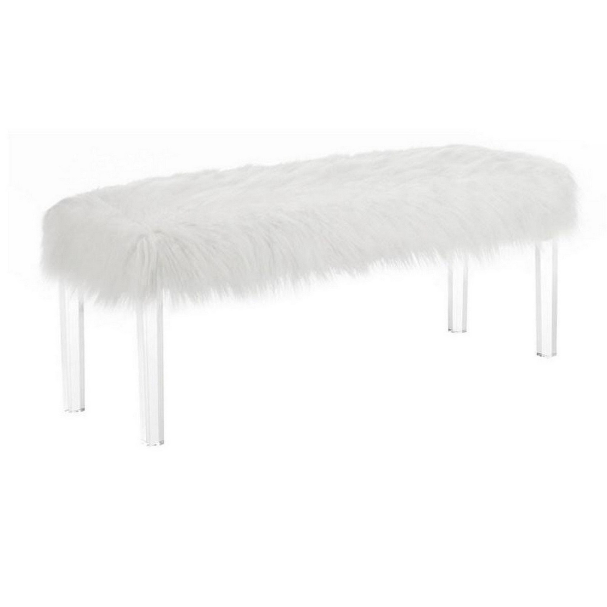 Contemporary Bench With Faux Fur Seat And Acrylic Legs White And Clear Walmart Com Walmart Com