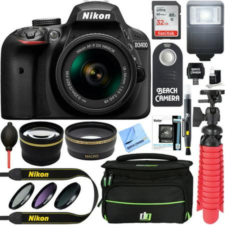 Nikon D3400 24.2 MP DSLR Camera + AF-P DX 18-55mm VR NIKKOR Lens Kit + Accessory Bundle 32GB SDXC Memory + SLR Photo Bag + Wide Angle Lens + 2x Telephoto Lens + Flash + Remote + Tripod+Filters (Black