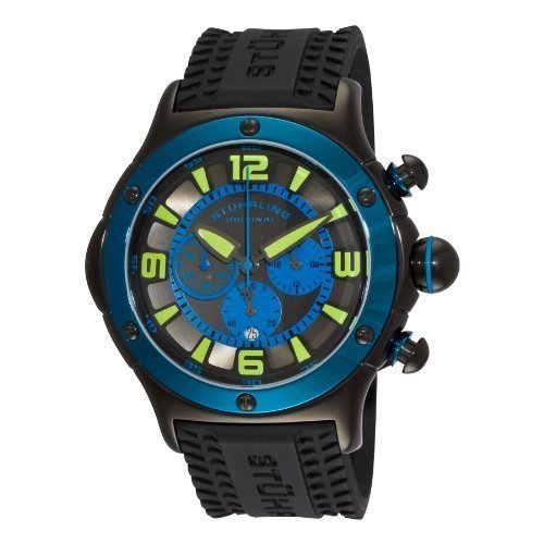 Stuhrling Original Men's 'Aviator' Quartz Stainless Steel and Silicone Sport Watch, Color:Black (Model: 3CR.335689)