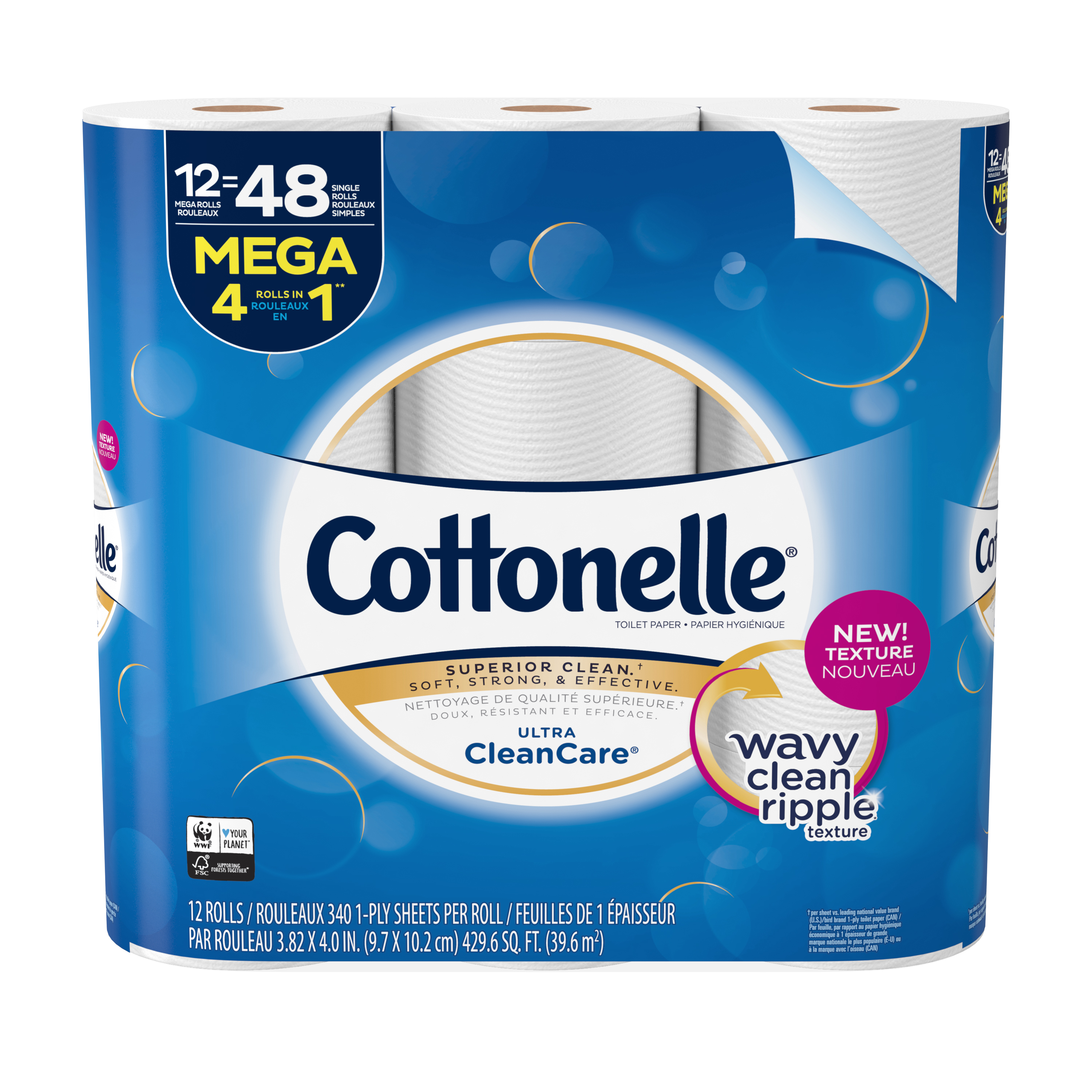Cottonelle Clean Care, 12 Mega Rolls, Toilet Paper