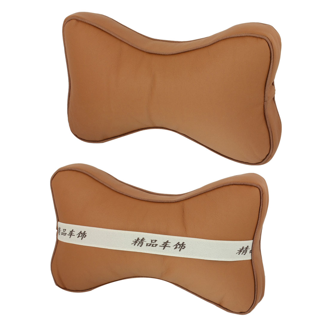 Unique Bargains Car Auto Bone Shaped Zipper Closure Neck Head Rest Cushion Pillows Brown Pair