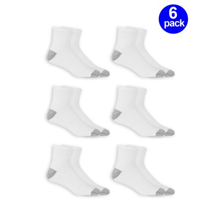 Athletic Works Men's Odor Resistant Cushion Ankle Quarter Socks 6 Pack 6 Pack Athletic Quarter Socks