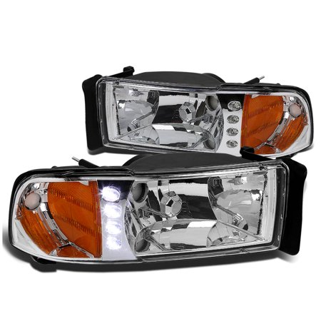 For 1994 to 2001 Dodge Ram 1500 2500 LED DRL Headlight Chrome Housing Amber Corner Headlamp 95 96 97 98 99 00 1Pc