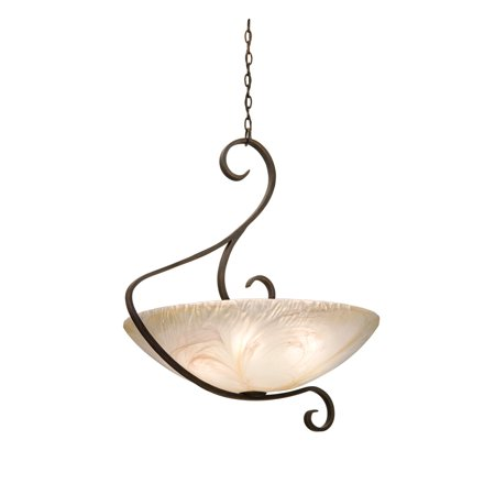 Weathered Iron Hand Finished Glass - Pendants 6 Light Bulb Fixture With Antique Copper Finish Antique Filigree Glass Hand Forged Iron and Glass E26 29