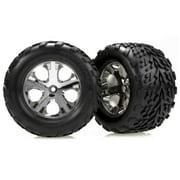 Traxxas 3669 Talon Tires Pre-Glued on Chrome All-Star Wheels, (nitro rear/electric front) (pair)