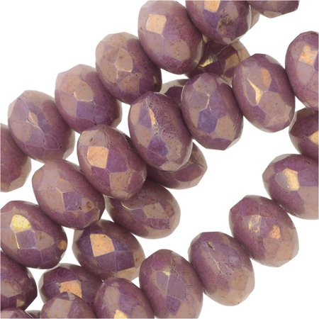 - Czech Fire Polished Glass, Donut Rondelle Beads 5x3.5mm, 50 Pieces, Violet Luster