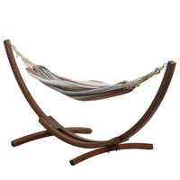 BELLEZE Double Cotton Hammock Bed With 10 ft Wooden Arc Outdoor Patio Hammock Stand