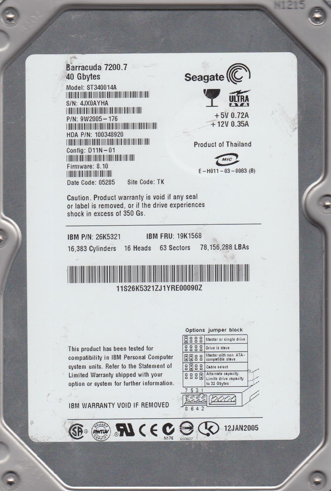 Seagate 9W2005-031 40GB Internal Hard Drive