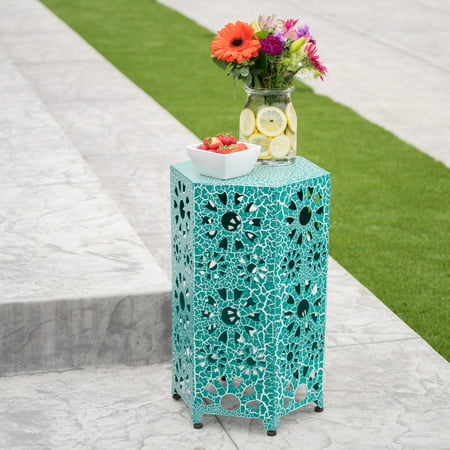 - Noble Hosue Marshall Outdoor 14 Inch Sunburst Iron Side Table, Crackle Teal
