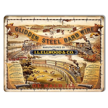 "Glidden Steel Barb Wire Railroad Sign 9""x12""  CSRG7128"