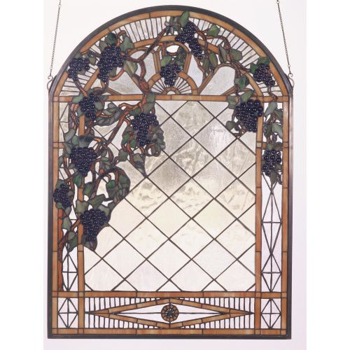 Meyda Tiffany 38327 Stained Glass Tiffany Window from the Jeweled Grapes Collection by Meyda Tiffany