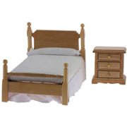 Dollhouse Bed & Night Stand, Oak